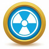 pic of nuke  - Gold nuclear icon on a white background. Vector illustration