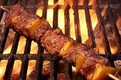 picture of bbq party  - Beef Kebabs On The Hot BBQ Grill Closeup - JPG