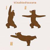 stock photo of virabhadrasana  - Illustration of three yoga bears  - JPG