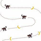 image of chase  - Funny monkey chasing bananas vector seamless pattern - JPG