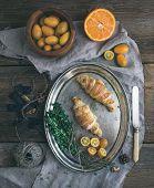 stock photo of kumquat  - Rustic breakfast set - JPG