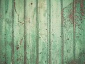 picture of wooden fence  - Old rustic painted cracky green turqouise wooden texture or background - JPG