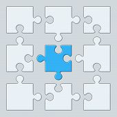 stock photo of puzzle  - 9 puzzle pieces - JPG