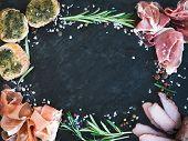 stock photo of pesto sauce  - Wine meat appetizer set - JPG