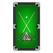 pic of pool ball  - Vector billiards balls triangle and two cues on a pool table - JPG