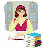 picture of silence  - A cute librarian asking to keep silence in the library - JPG