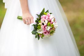 picture of marriage ceremony  - Bride with a wedding bouquet - JPG