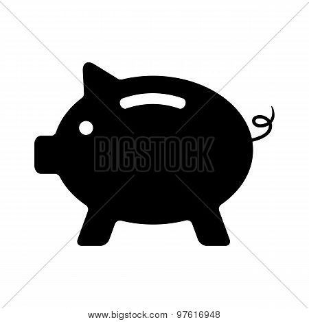 Piggy bank black and white