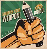 Постер, плакат: Retro school poster design concept