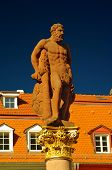 stock photo of samson  - A view of Hercules statue at Marktplatz Heidelberg - JPG