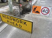stock photo of jcb  - road works underway - JPG