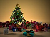 Christmass tree with several gifts.