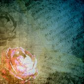 Romantic background in retro style with silhouette of rose and musical notes