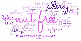picture of anaphylaxis  - Nut free word cloud on a white background - JPG