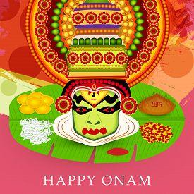 image of pookolam  - illustration of a colourful Kathakali face on grungy colorful background for Onam celebration - JPG