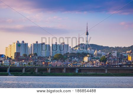 poster of Seoul City In Daytime, Han River And N Seoul Tower, South Korea.