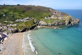 An Aerial View Of Trevaunance Cove, St. Agnes, Cornwall.