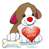Sweet dog holding heart with the inscription I love you mom