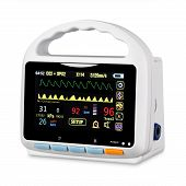 Vital Signs Monitor Device Isolated On White Background. Medical Diagnostic Equipment. Capnography M poster