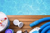Chemical Products And Tools For Pool Maintenance poster