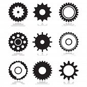 Nine different wheels on white background