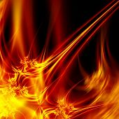 Hot abstract fire on dark background