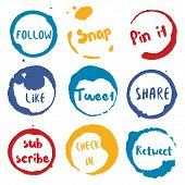 Call To Action Collection Of Round Watercolor Stains With Follow, Tweet, Retweet, Like, Share, Pin I poster