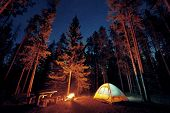 Camping under stars with bonfire and tent in Banff National Park poster