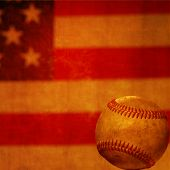 Old vintage baseball rendering with american flag background.