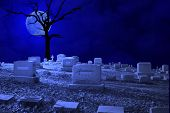 Cemetery Night Scene by Moonlight.