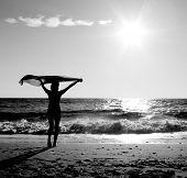 Постер, плакат: Девушка с платком на пляже