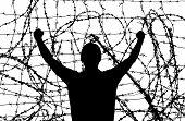 Man in prison. Conceptual design.