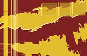 abstrakt rot-orange-Design mit Grunge Kanten Muster und nützliche Elemente, Vektor, Format A4