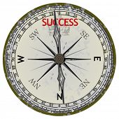 Old Compass. Course To Success. Vector Illustration. No Meshes.