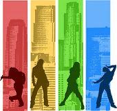 Regenbogen Farbe Hip-Hop Silhouette