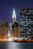 foto of new york skyline  - Midtown Manhattan skyline at Night Lights - JPG