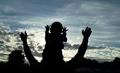 image of holding hands  - Silhouette of an adult and his son at sunset - JPG
