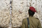 Israeli soldier prays at the Wailing Wall. Jerusalem, Israel