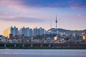 Seoul City In Daytime, Han River And N Seoul Tower, South Korea. poster