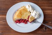 Fresh Homemade Pie With Cherry Pulp And Ice Cream On A Plate. A Slice Of A Cherry Pie With A Ruddy C poster