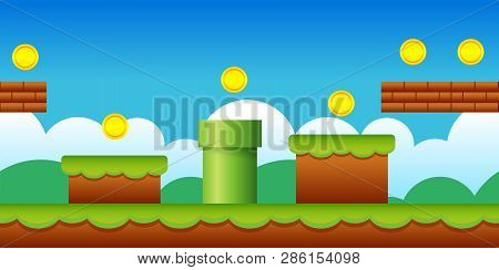 poster of Vector Seamless Old Retro Video Game Background. Classic Style Game Design Scenery.