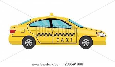 Car Taxi In Flat Style