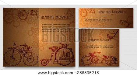 Set Frame Steampunk Background With