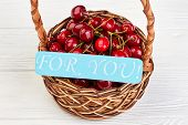 Valentines Day Background With Ripe Cherries. Basket Of Ripe Berries And Turquoise Card With Text Fo poster