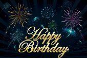 alles Gute zum Geburtstag Text auf Feuerwerk Hintergrund Illustration