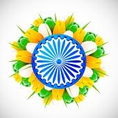 pic of ashok  - illustration of bunch of tulip flower in color of indian flag with Ashok wheel - JPG