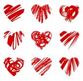 set of grunge hearts, vector illustration