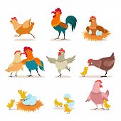 Cartoon Chicken. Chick With Eggs, Hen And Rooster. Happy Christmas Chicken, Domestic Birds And Valen poster