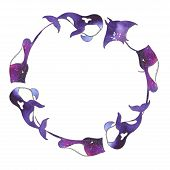 Ocean Watercolor Wreaths With Silhouettes Of Sea Animals: Whales, Killer Whales, Stingrays, Purple F poster