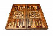 Backgammon Board Entirely On White Background.